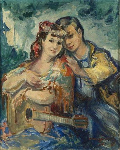 Pedro CREIXAMS (1893-1965) Couple à la mandoline...