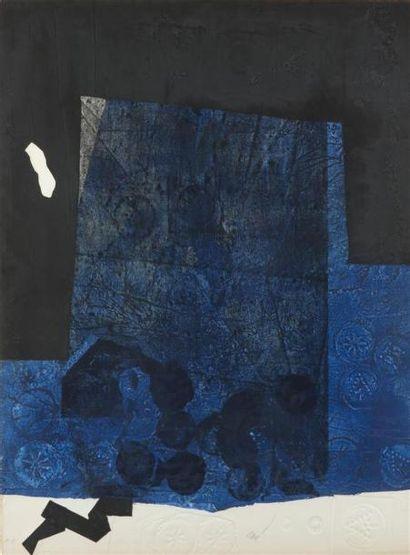 Antoni CLAVE (1913-2005) Lithographie à motifs géométriques bleus, blancs et noirs....