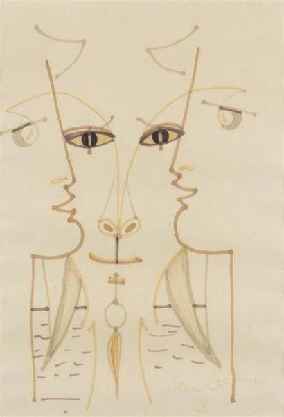 Jean COCTEAU (1889-1963) Tête de Chèvre-pied...