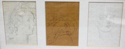 Louis BILLOTEY (1883-1940) Trois études de...