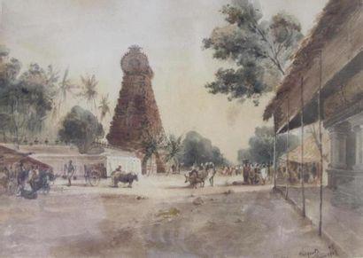 Theodore FISQUET ( 1813-1890) Temple en Inde...