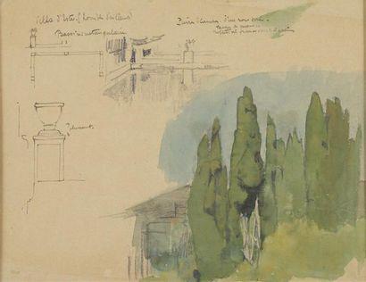 Louis BILLOTEY (1883-1940) Etude de cyprès...