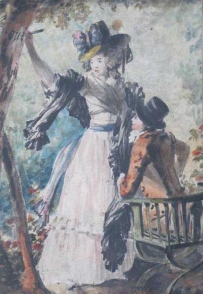 Ecole française fin du XVIIIème siècle Deux...