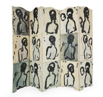 Nathalie GRENIER (1966) Paravent cinq feuilles, gravures réhaussées à la caséïne...