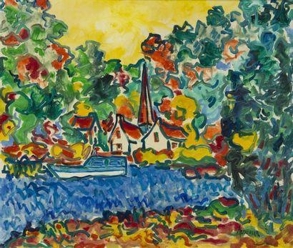 Amand BOUVIER (1913-1996) Le village au bord de la rivière Huile sur toile signée...