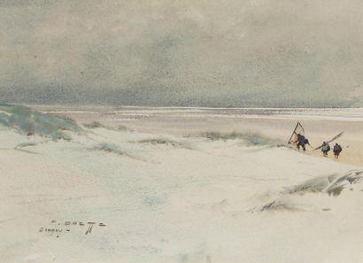 Pierre BRETTE (1905-1961) Retour de pêche à pied Aquarelle, signée en bas à gauche,...