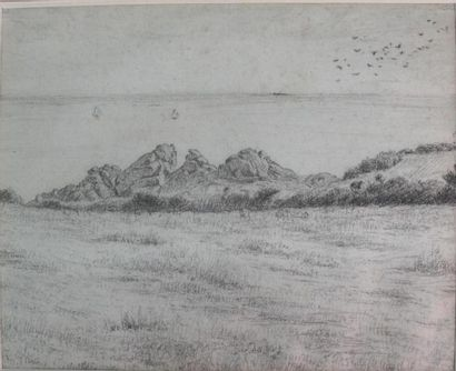 Ecole française du XIXème siècle Côte rocheuse...