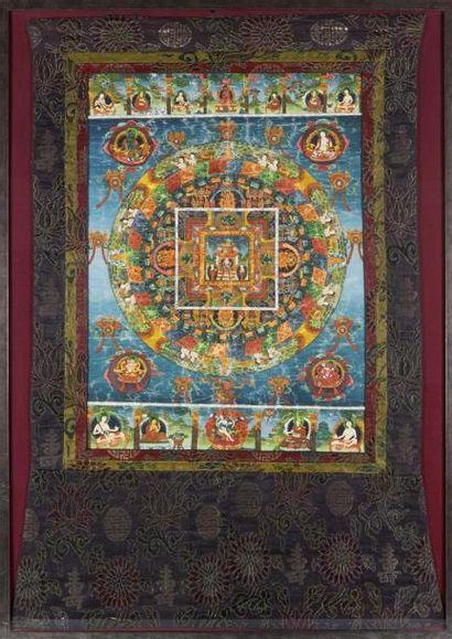 TIBET - XIXe siècle Tangkha, détrempe sur...