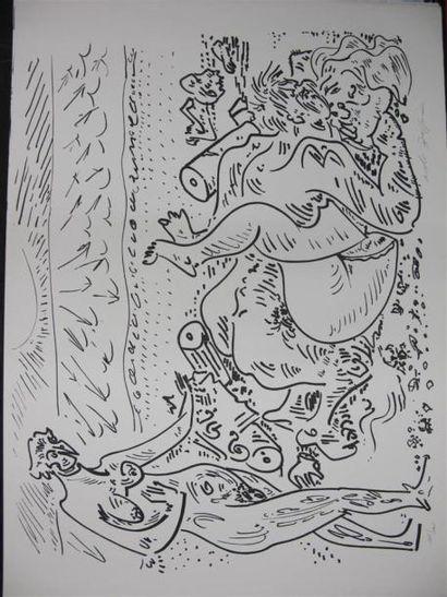 André MASSON (1896-1987) Terre érotique. Suite de quinze lithographies érotiques,...