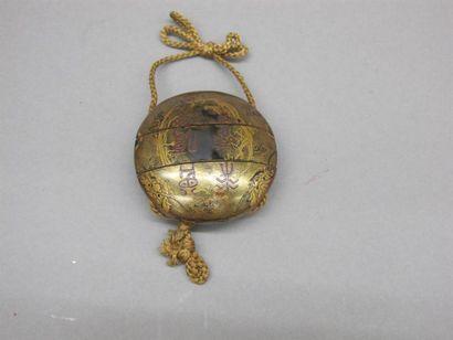 JAPON - XVIIIe siècle Inro de forme ronde...