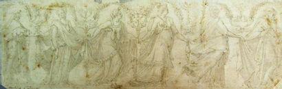 Ecole italienne du XVIème siècle Fresque les âges de la vie. Plume brune, lavis...