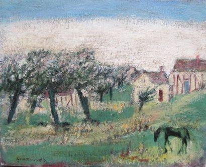 Shu TANAKA (1908). en fleurs. Huile sur toile, signée en bas à gauche, signé et...