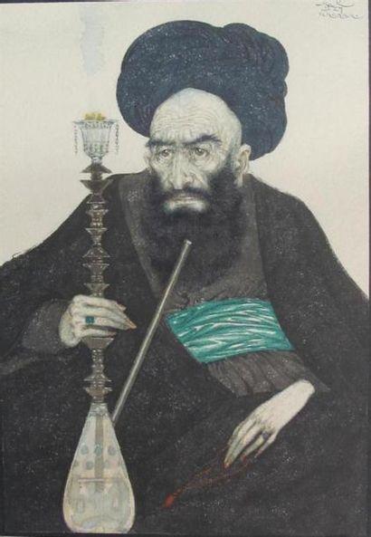 Paul MAK (1891-1967) Mullah fumant Aquarelle...