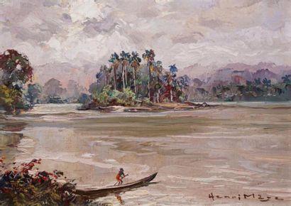 Henri MEGE (1904-1984) Pirogue sur un fleuve en Guyane française, Amérique du Sud...