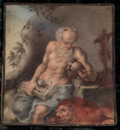 Entourage de Jacopo LIGOZZI Saint Marc Gouache...