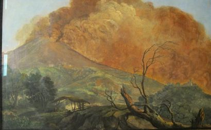 Attribuée à Simon DENIS (1755-1813) L'éruption...