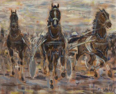Henri LAVILLE (1916) Trot atelé Huile sur toile signée en bas à droite. 54 x 65...