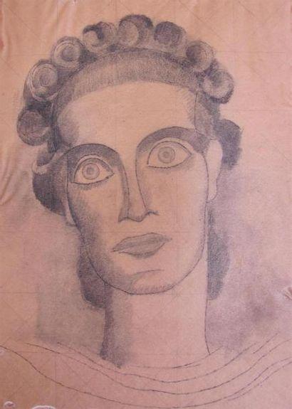 Louis BILLOTEY (1883-1940) Visage de Cassandre,...