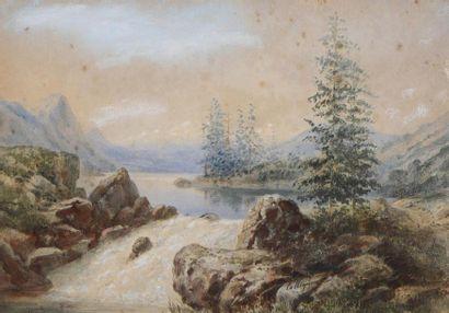 Francois Jules COLLIGNON (- 1850) Torrent et Paysage au château Deux aquarelles....