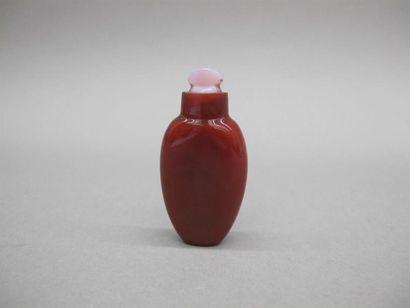 CHINE - Vers 1900 Flacon tabatière en verre...