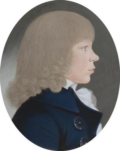 Ecole allemande de la fin du XVIIIème siècle Portrait ovale d'un jeune homme de...