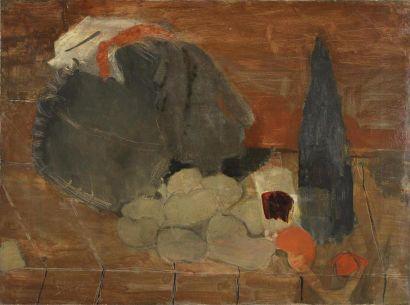 Olivier DEBRÉ (1920-1999) Nature morte à la bouteille de vin, 1943 Huile sur toile,...