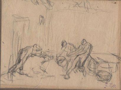 Jean-François MILLET (1814-1875) On tue le cochon, étude préparatoire pour le pastel....