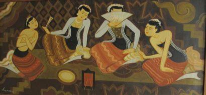 U KHIN MAUNG (1910-1983) Femmes assises Huile...