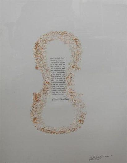 ARMAN (1928-2005) Le traité du violon, texte...