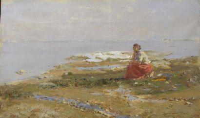 Romualdi PRATI (1874-1930) Jeune femme mélancolique...