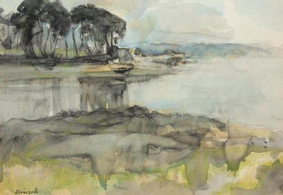 Claude DECHEZELLE (1928) Bord de Marne Aquarelle...