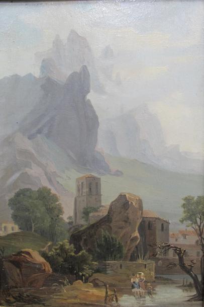 Ecole française vers 1840 de montagne animé....