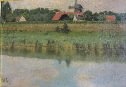 Ecole Hollandaise du XIXème siècle. Paysage...