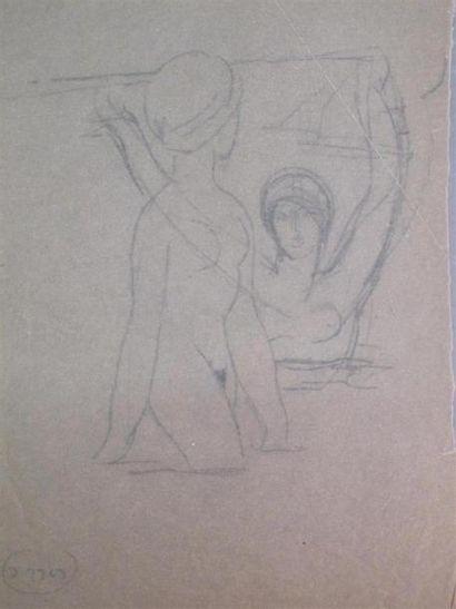 Louis BILLOTEY (1883-1940) Etude de deux...