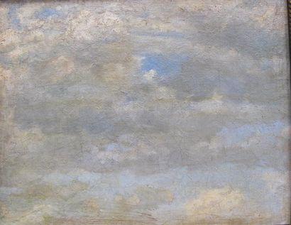 Ecole du XIXème siècle. Etude de ciel. Huile...