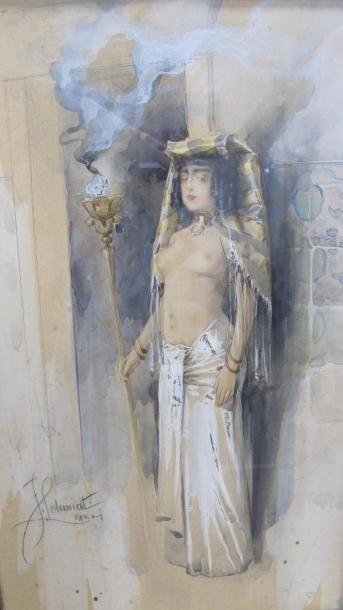F .SCHMIDT, 1901. Egyptienne tenant un flambeau....