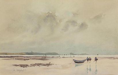Pierre BRETTE (1905-1961) Pêcheur à marée basse près d'une barque Aquarelle, signée...
