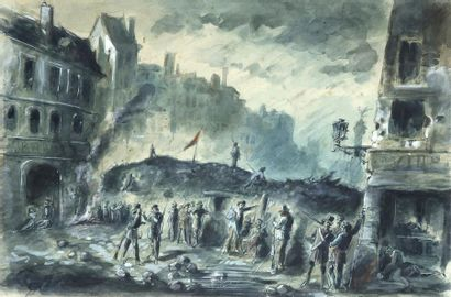 DUPENDANT (1835?- ?) Barricade à Paris sous...