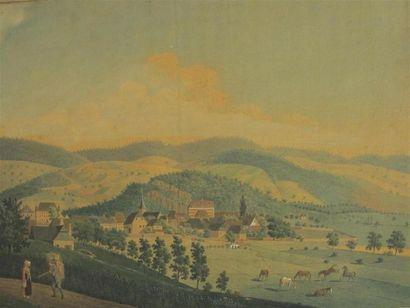 Ecole suisse du XIXe siècle Paysage Aquarelle...