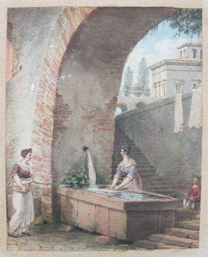 Victor Jean NICOLLE (1754-1826) Lavandière...