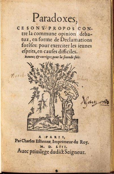 Charles ESTIENNE ou Jean DUVAL. Paradoxes,...