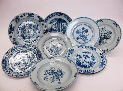 CHINE, XVIIIe siècle Suite de cinq assiettes...