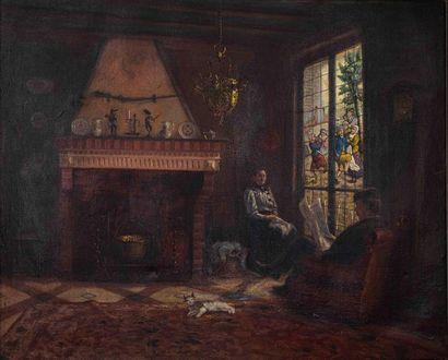Albert LORIEUX (1862). Scène d'intérieur...