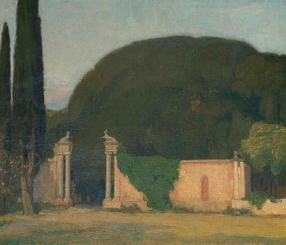 Louis BILLOTEY (1883-1940) Vue d'un parc,...