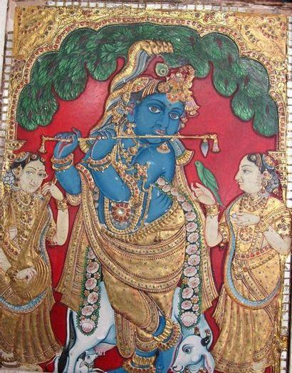 INDE, XIXe siècle. Icône représentant Krishna...