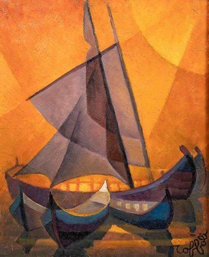 Louis TOFFOLI (1907-1999) Eblouissement. Huile sur toile, signée en bas à droite,...