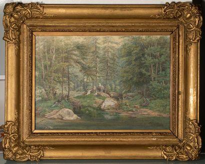 Oscar VAN ALVENSLEBEN (avant 1840-1903) Scène de délassement dans une forêt au bord...