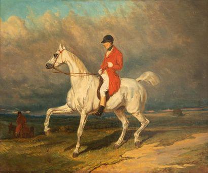 D'après Alfred DE DREUX. Cavalier sur un cheval blanc Huile sur toile 54 x 65 cm...