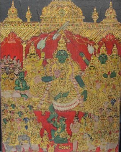 INDE, XIXe siècle. Icône représentant Vishnu...