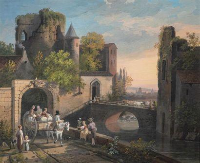 Louis GADBOIS (1770-1826) Vue animée d'une...